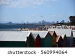 brighton bathing boxes with... | Shutterstock . vector #560994064