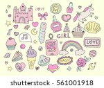 fashion girl stickers set... | Shutterstock .eps vector #561001918