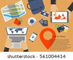 time to travel concept. flat... | Shutterstock .eps vector #561004414