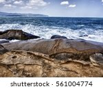 natural rock stone cliff... | Shutterstock . vector #561004774