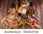italian antipasti wine snacks... | Shutterstock . vector #561014764