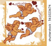 vintage cute cupids or amour... | Shutterstock .eps vector #561023674