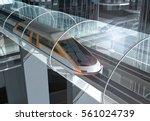 concept of magnetic levitation... | Shutterstock . vector #561024739