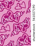 valentine's day pattern with... | Shutterstock .eps vector #561027190