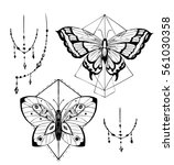 butterfly tattoo sketch. vector ... | Shutterstock .eps vector #561030358