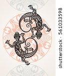 ornate gecko lizard   Shutterstock .eps vector #561033598