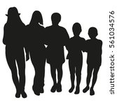 group of people silhouette.... | Shutterstock .eps vector #561034576
