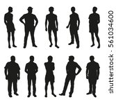set of people vector silhouettes | Shutterstock .eps vector #561034600