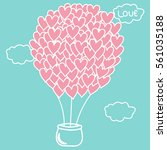 heart shaped hot air balloon in ... | Shutterstock .eps vector #561035188