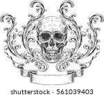 acanthus and skull and ribbon... | Shutterstock .eps vector #561039403