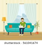 freelancer man with notebook on ... | Shutterstock .eps vector #561041674