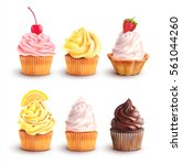 cupcake collection isolated on... | Shutterstock .eps vector #561044260