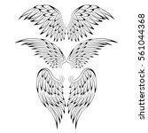 set of heraldic bird angel... | Shutterstock .eps vector #561044368