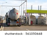 fuel tanker truck at the gas... | Shutterstock . vector #561050668