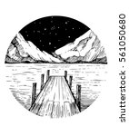 lake and mountains. tattoo... | Shutterstock .eps vector #561050680