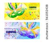 set of vector mardi gras... | Shutterstock .eps vector #561052438