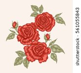 Red Rose Flowers And Leaves In...