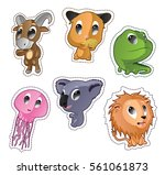 cute cartoon vector badges with ... | Shutterstock .eps vector #561061873