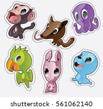 cute cartoon vector badges with ... | Shutterstock .eps vector #561062140