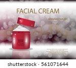 glamorous facial cream jar on... | Shutterstock .eps vector #561071644