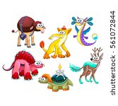 group of funny strange animals. ... | Shutterstock .eps vector #561072844