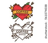 coffee forever love hand drawn... | Shutterstock .eps vector #561074038
