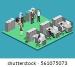 flat 3d isometric abstract... | Shutterstock . vector #561075073