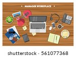 manager office workplace  | Shutterstock .eps vector #561077368
