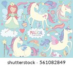 Stock vector magical unicorns and fairy princess vector illustration 561082849
