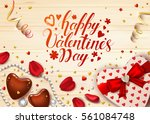 happy valentines day card with... | Shutterstock .eps vector #561084748