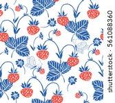 strawberry. seamless pattern.... | Shutterstock .eps vector #561088360