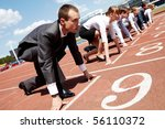 row of business people getting... | Shutterstock . vector #56110372