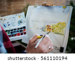 watercolor painting with brush... | Shutterstock . vector #561110194