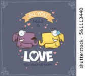 romantic greeting card with... | Shutterstock .eps vector #561113440