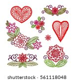 set elements embroidery ... | Shutterstock .eps vector #561118048
