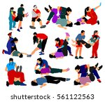 rescue drowning first aid... | Shutterstock .eps vector #561122563