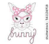 vector cute bunny girl portrait ... | Shutterstock .eps vector #561136918