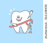 cartoon tooth with a dental... | Shutterstock .eps vector #561148450