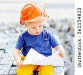 portrait of little builder in... | Shutterstock . vector #561154813