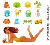 beach sea summer concept design ... | Shutterstock .eps vector #561156574