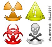 four glossy hazard icons with... | Shutterstock .eps vector #56115994