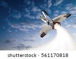 flying up militant missle. | Shutterstock . vector #561170818