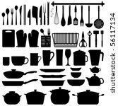 kitchen utensils silhouette... | Shutterstock .eps vector #56117134