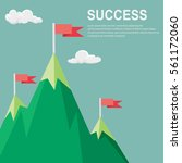 vector flat flag on mountain  ... | Shutterstock .eps vector #561172060