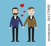 loving gay male couple wedding... | Shutterstock .eps vector #561175900