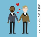 loving gay male couple wedding... | Shutterstock .eps vector #561175906