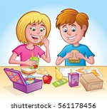 girl and boy eating lunch at... | Shutterstock .eps vector #561178456