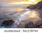 carabeo beach at sunset  nerja  ... | Shutterstock . vector #561178744