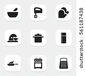set of 9 editable meal icons.... | Shutterstock .eps vector #561187438