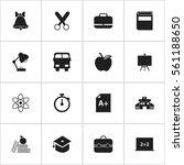 set of 16 school icons.... | Shutterstock . vector #561188650